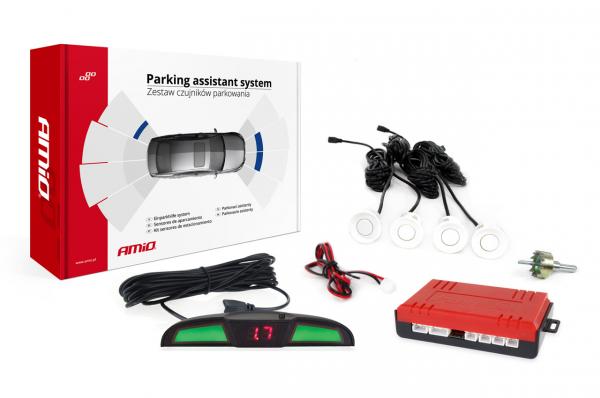 Set de senzori de inversare a parcare LED COB 4 senzori albi
